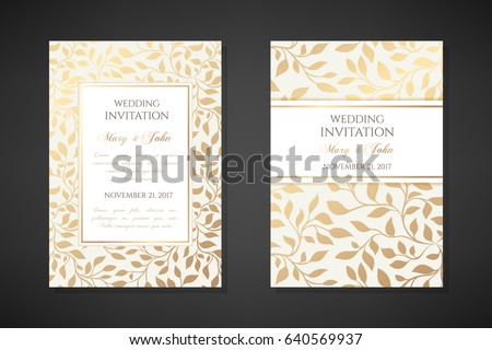 stock-vector-vintage-wedding-invitation-templates-cover-design-with-gold-leaves-ornaments-vector-traditional