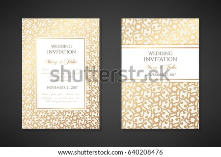 Vintage wedding invitation templates. Cover design with gold oriental ornaments. Vector  traditional decorative backgrounds.
