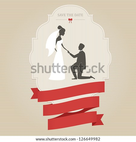 Vintage wedding invitation with bride and groom holding hands