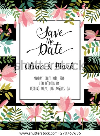 vintage wedding invitation with