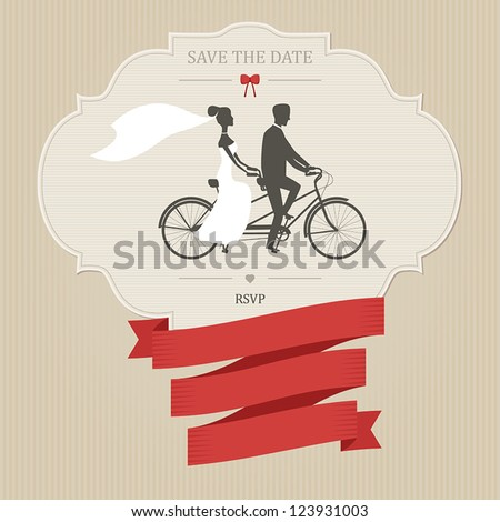 Vintage wedding invitation with tandem bicycle and place for text #123931003