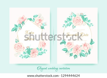 Vintage Wedding Invite, Roses in Pastel Colors. Flowers Bouquet Drawing in Watercolor Style. Wedding Card Design, Announcement of Engagement. Floral Decorative Border or Frame, Rustic Wedding. #1294444624