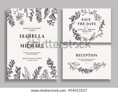 Vintage wedding set with greenery. Wedding invitation, save the date,  reception card. Vector illustration. Boxwood, seeded eucalyptus. Wreath with leaves and twigs.  Engraving style. Black and white.