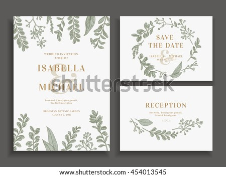Vintage wedding set with greenery. Wedding invitation, save the date,  reception card. Vector illustration. Boxwood, seeded eucalyptus. Wreath with leaves and twigs.  Engraving style. Design elements.