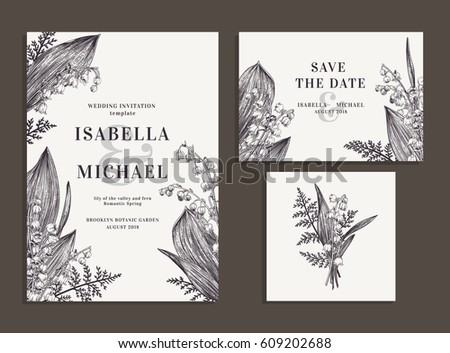 Vintage wedding set with spring flowers. Lilies of the valley and fern. Wedding invitation, save the date, reception card. Vector illustration. Engraving style. Black and white.