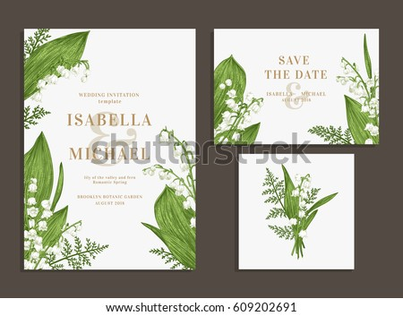 Vintage wedding set with spring flowers. Lilies of the valley and fern. Wedding invitation, save the date, reception card. Vector illustration. Greenery.
