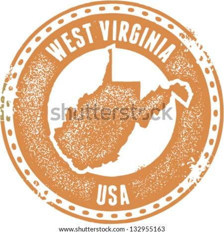 Vintage West Virginia USA State Stamp