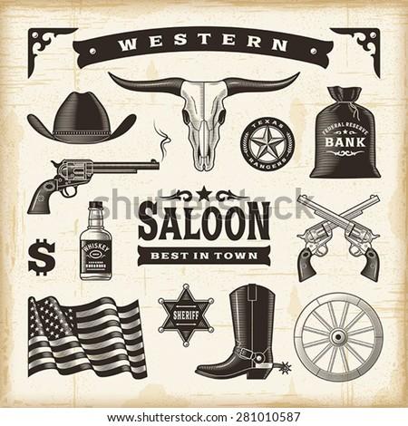 vintage western set editable
