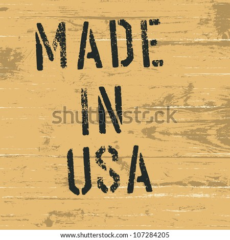 "Vintage western styled sign ""Made in USA"". Vector, EPS8"