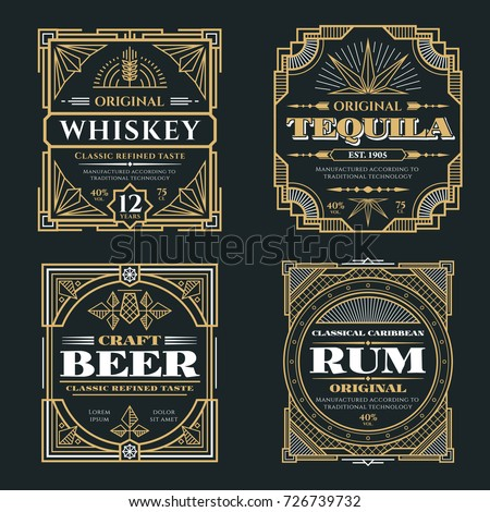 Vintage whiskey and alcoholic beverages vector labels in art deco retro style. Alcohol whiskey rum and tequila poster illustration