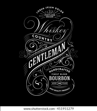 Vintage Whiskey Label. Hand drawn T-shirt Graphic
