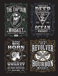 Vintage Whiskey Label T-shirt Design Collection
