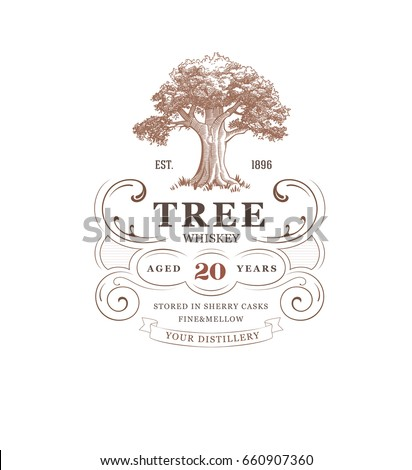 vintage whiskey label with tree
