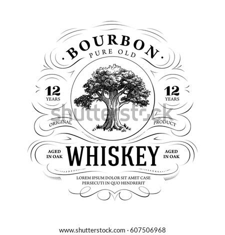 vintage whiskey logo with oak...