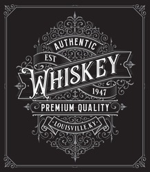 Vintage Whiskey style frame boarder label retro hand drawn engraving antique vector