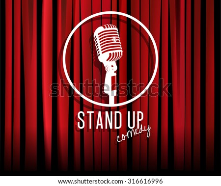 Vintage white silhouette microphone icon against red curtain backdrop. mic on empty theatre stage, vector art image illustration. stand up comedian night show background. realistic retro design eps10