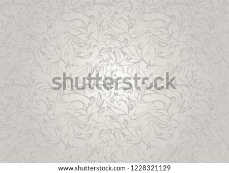 Vintage white ultramarine background with floral elements and darkening to the edges in Gothic style. Royal texture, vector Eps 10