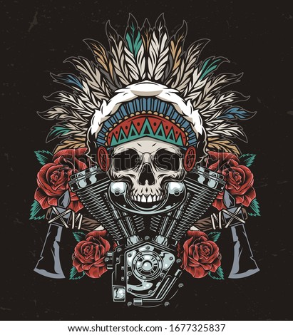 Vintage wild west colorful concept with native american indian chief skull in feathers headwear tomahawks roses and motorcycle engine isolated vector illustration