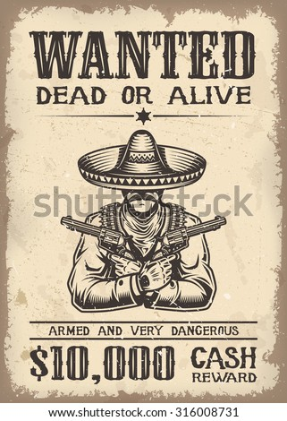 vintage wild west wanted poster ...