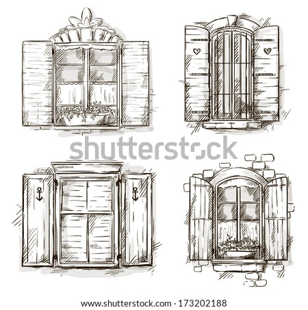 vintage window drawing. vintage window hand drawn set of vector drawings drawing v