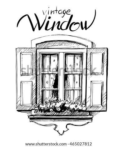 vintage window. vector sketch