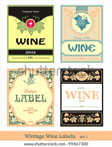 vintage wine label. vector set
