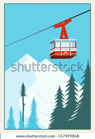 Vintage Winter cartoon background, poster. Red ski Lift Gondolas moving in Snow Mountains