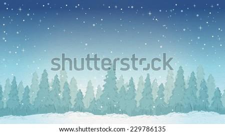 vintage winter night forest