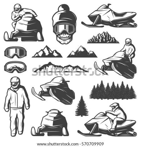 vintage winter sport elements