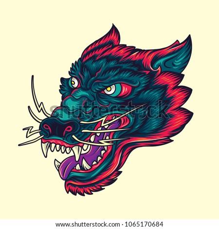 Vintage Wolf head Old School Tattoo Illustration