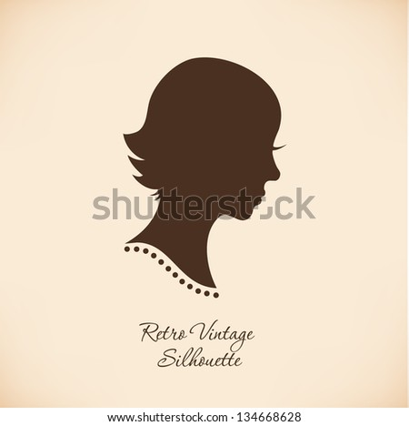 Vintage Woman Head Silhouette. Vector Isolated Woman Half ...