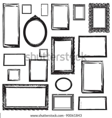 VINTAGE WOODEN FRAMES WALL GALLERY. Vector illustration. wall pattern and graphic elements.