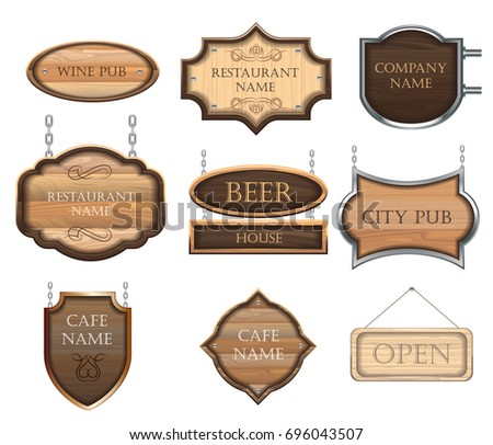 Vintage wooden signboards, a set of different figures, for decorating restaurants and cafes.