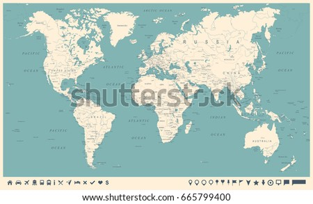 Vintage World Map and Markers - Detailed Vector Illustration #665799400