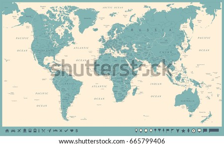 Vintage World Map and Markers - Detailed Vector Illustration #665799406
