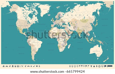 Vintage World Map and Markers - Detailed Vector Illustration