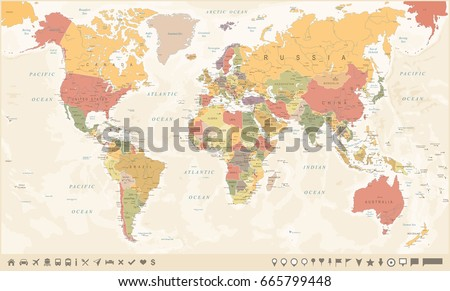 Vintage World Map and Markers - Detailed Vector Illustration #665799448
