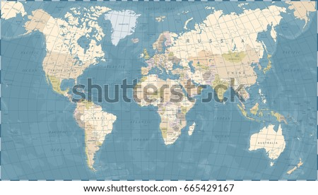 Vintage World Map - Detailed Vector Illustration #665429167
