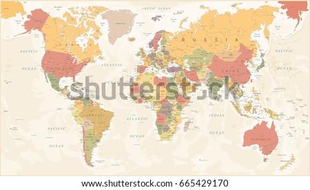 Vintage World Map - Detailed Vector Illustration #665429170