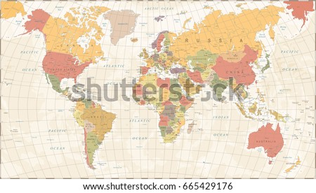 Vintage World Map - Detailed Vector Illustration #665429176