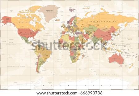 Vintage World Map - Detailed Vector Illustration #666990736