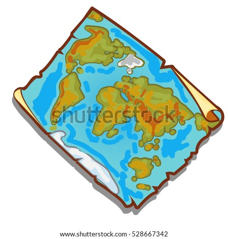 Vintage world map on the piece of faded old paper with torn edges. Vector illustration.