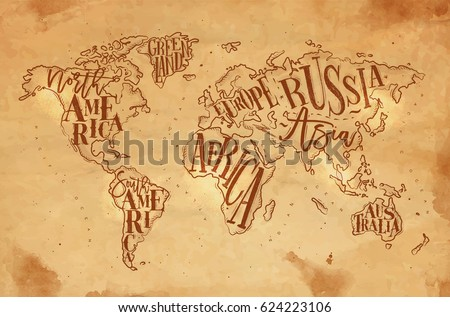 Vintage world map vector download free vector art stock graphics vintage world map with inscription greenland north south america africa europe gumiabroncs Images