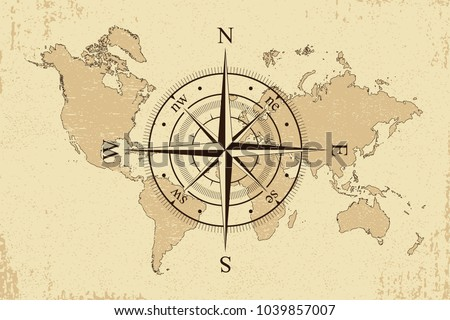 vintage world map with retro compass background old paper map and wind rose vector