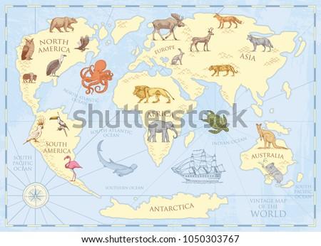 Topgrafo vector de dibujos animados descargue grficos y vectores vintage world map with wild animals and mountains sea creatures in the ocean old gumiabroncs Gallery
