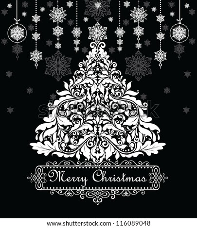 Vintage xmas greeting card (black and white)