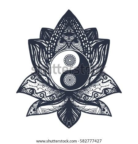 vintage yin and yang in mandala ...