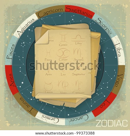 Vintage zodiac circle with zodiac sign - vector illustration