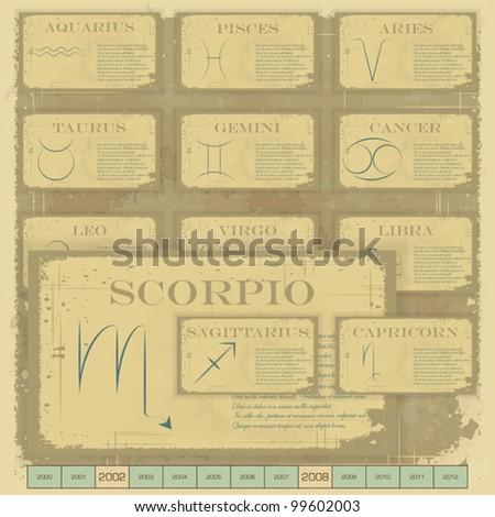 Vintage zodiac horoscope with zodiac sign - vector illustration - stock vector
