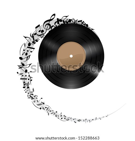 Vinyl disc with music notes flying out in spiral. Effect of rolling record. Illustration on white background.